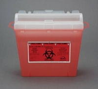 Multi-purpose Sharps Container Wall Safe 1-Piece 5 Quart Red Base Horizontal Entry Lid (1/Each)
