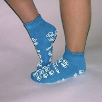 Slipper Socks  Teal Above the Ankle Double Imprint Shoe Size 5-7 (1/Pair)
