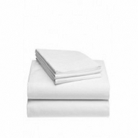 BED SHEET FLAT SHEET 66 W X 104L INCH WHITE COTTON 55% / POLYESTER 45% (12/PACK)