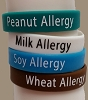 Kids Allergy Identification Bracelets, Silicone, Latex Free, PEANUT Allergy , Toddler  6